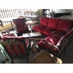Imbuia Wagon Wheel Ball & Claw Lounge Suite